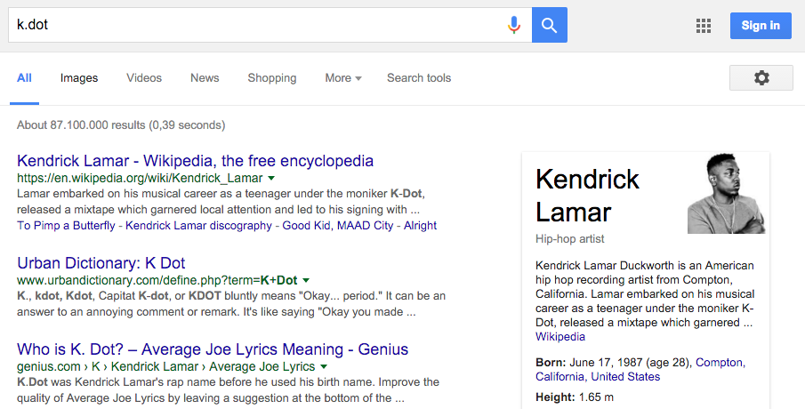 """Searching for Kendrick Lamar using his former stage-name """"k.dot"""" (knowledge panel on the right)."""
